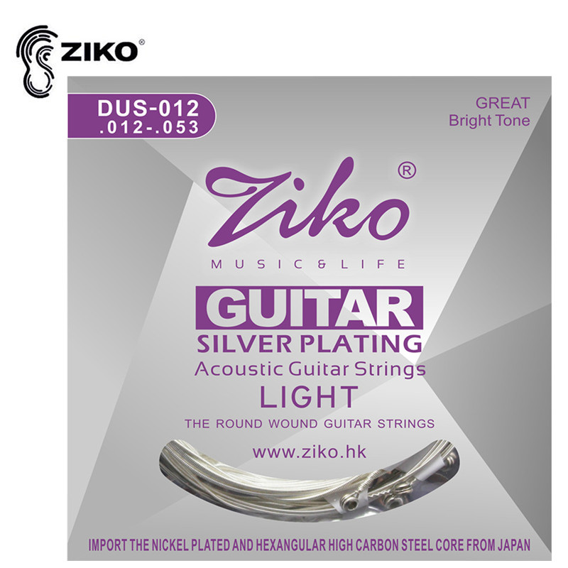 ZIKO DUS 010 011 012 Acoustic Guitar Strings Hexagon Carbon Steel Core Silver Plating Musical Instruments Accessories Parts