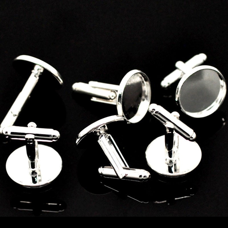 50Pcs Silver Plated Round Copper Cufflinks Cameo Cabochon Setting Cuff Links Jewelry DIY Component 26x18mm(Fit 16mm)