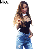 Kliou 2017 Polka Dot Print Summer Bodysuit Women Long Sleeve Sexy Romper Overalls Causal Black Collar