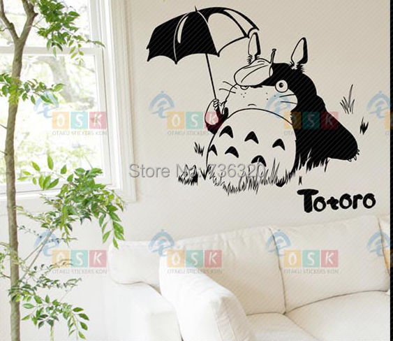 New Arrival Japanese Cartoon Totoro Wall Sticker Totoro Flying On Sky Vinyl  Wall Decal Child Sticker Home Decorative Decoration