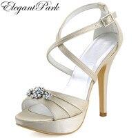 אישה פלטפורמת סנדל עקב גבוה רצועה צולבת יהלומים מלאכותיים שנהב סאטן נשף משאבות של נשים סנדלי נשים נעלי כלה לחתונה EP2115