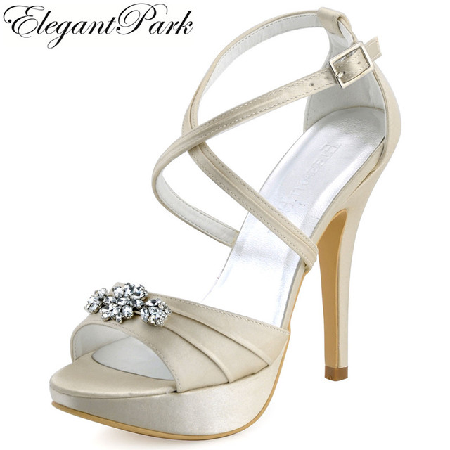 Woman Summer Sandal High Heel Platform Cross strap Prom Pumps Satin Ivory Women  Wedding Bridal Shoes White Champagne EP2115 23bb36fbd67c