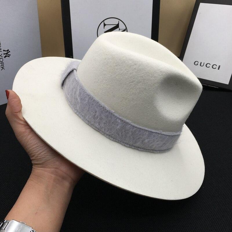 Sombrero de lana señor tapa caballero blanco sombrero de moda debajo sombreros - 4