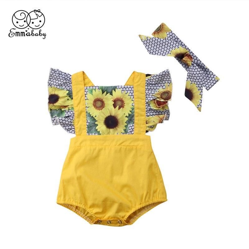 0-24 M Leuke Pasgeboren Meisje Zonnebloem Patroon Romper 2018 Zomer Meisje Korte Mouw Romper Bebes Patchwork Jumpsuit Outfits