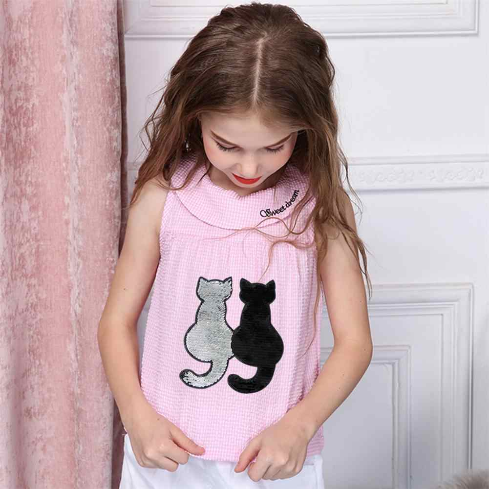1Pc Shiny Sequin Patch Reversible Sequin Change Color Cartoon Cat Panda Patches For DIY Clothes Patch Stickers Applique Crafts