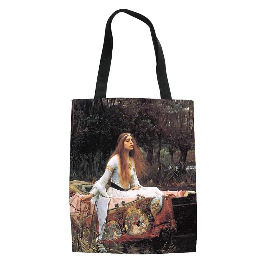 Famous Van Painting Women Canvas Shopping Bags Casual Tote Eco Friendly Shoulder Versatile Sack Summer Beach Olils DIY Handbag