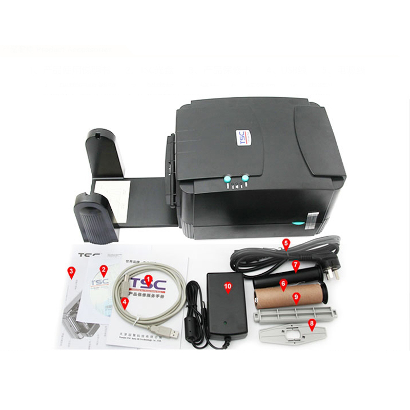 TSC thermal transfer ribbon printer TTP-342E Pro (300DPI) barcode sticker label printer printing adhesive sticker hang tags 58mm label barcode printer with direct thermal label and adhesive sticker pritner usb gp2120t for coffee store