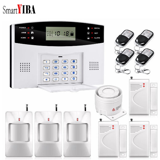 SmartYIBA 433mhz Sensor 99 Zones GSM SMS Home Burglar Security Voice Intruder Alarm System LCD Auto Dialer pir detector zones wireless pir home security burglar alarm system auto dialer with wireless door sensors detector new high quality
