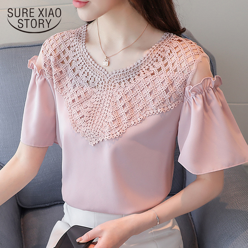 2018 summer short sleeve chiffon women blouse shirt white v-neck women's tops sexy hollow out women's clothing blusas D711 30