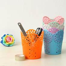 Creative Multifunctional Hollow Out Flower Pen Pot Makeup Brush Holder Desktop Rubbish Storage Basket office home decor crafts(China)