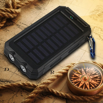 10000mah Travel Portable Waterproof Solar Power Bank 2 USB External Solar Panel Charging Dual LED Light Compass For All Phone