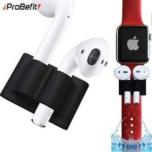 Силиконовый чехол-подставка для Apple AirPods с зажимом для наушников, для Apple Watch series 3 2 1, спортивный зажим с крючком, защита от потери для Iwatch 4