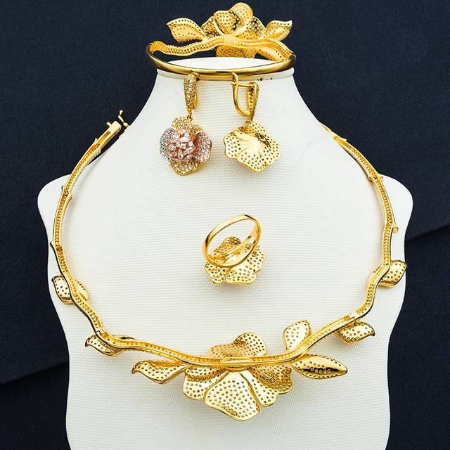 Luxury Sunflower Round Super Cubic Zirconia Necklace Earring