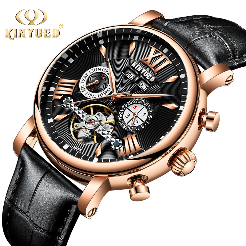 KINYUED Luxury Brand Tourbillon Watch Men Automatic Skeleton Mens Mechanical Watches Perpetual Calendar Gold Week Saat Relogios kinyued automatic skeleton watch men waterproof perpetual calendar self wind tourbillon mechanical watches erkek mekanik saat
