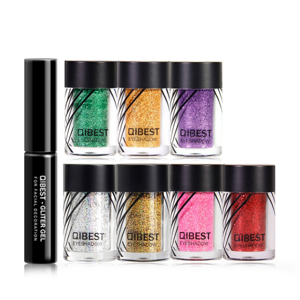Qibest Colorful Laser Makeup Set Glitter Eye Shadow & Glue Face Eyes Lips Nails Shimmer Glitter Powder Waterproof #279051 Good For Energy And The Spleen Beauty & Health Eye Shadow