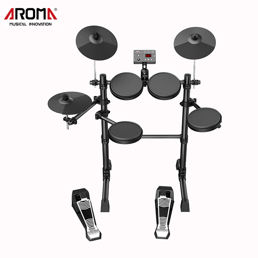 AROMA TDX-15 Electronic Drum Set Kit Percussion Music Instruments Build-in Metronome 12 Drum Kits Sound Easy Assembly