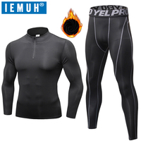 Long Johns Thermal Underwear Sets IEMUH Winter Men Quick Dry Anti microbial Stretch Men's Thermo Underwear Male Warm Fitness