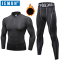 Long Johns Thermal Underwear Sets IEMUH Winter Men Quick Dry Anti-microbial Stretch Men's Thermo Underwear Male Warm Fitness