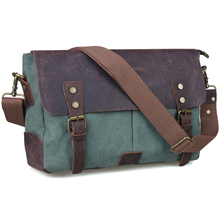 TIDING green canvas messenger bag vintage leather bag mens canvas shoulder bags 11414