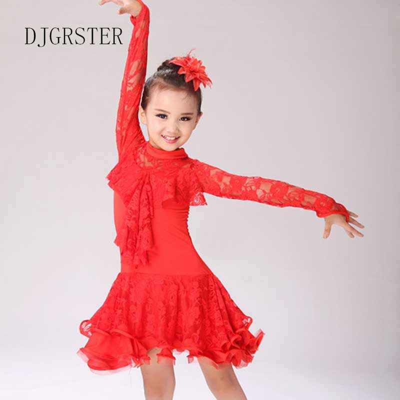 8d25abd5c ... Girl Kids Long Sleeves Standard Latin Competition Dress Children Modern  Dance Ballroom Salsa Rumba Tango Samba ...
