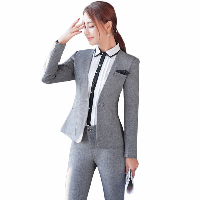 f4caed11221 US $49.98 |Plus Size 4XL Gray Women Pant Suit Autumn Office Formal Work  Office Long Sleeve Trouser Suits OL Slim Fashion Business suit-in Pant  Suits ...