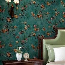 Papel tapiz no tejido de Pastoral Floral verde, papel tapiz 3D en relieve para sala de estar, sofá, dormitorio, decoración de pared de fondo de TV, Mural, flor
