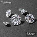 TransGems 6.5mm 1 Carat GH Cor Certified Lab Grown Moissanite Diamante Solto Bead Positivo do Teste Como Real Diamante Pedra Preciosa