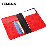 Temena RFID Litchi Grain Passport Cover Genuine Leather Wallet Business Passport Case Women Men Luxury ID