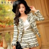 Originele 2016 koreaanse slanke hoge waisted wol gestreepte shorts vrouwelijke herfst winter groothandel