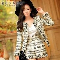 original 2016 korean slim high waisted wool striped shorts female autumn winter wholesale