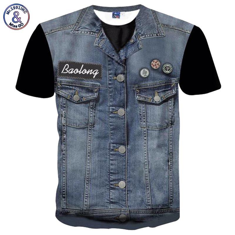 Mr.1991INC Newest Hip Hop T-shirt Men/women Tees Shirts 3d T-shirt Print Fake Jeans Tops Hipster Tshirts Plus 3XL 4XL