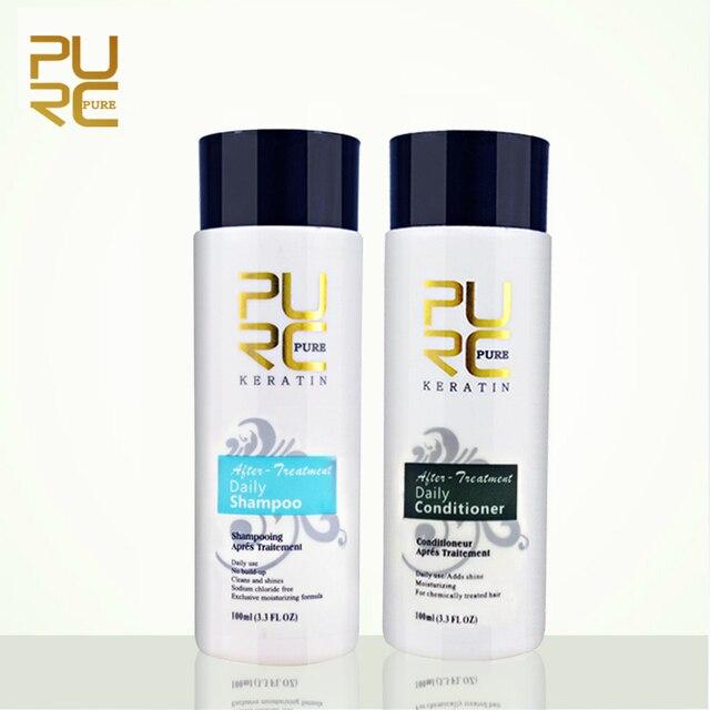 Purc шампунь и Кондиционер 100 мл Уход за волосами устанавливает профессионального использования для keraetin лечение волос сделать разглаживающий и блеск