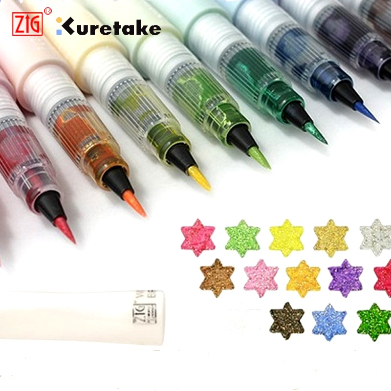 Original Kuretake Zig wink of stella brush pen multicolor shiny colored soft glitter brush pen gift 16colors alabasta cute blinking wink glitter eyes