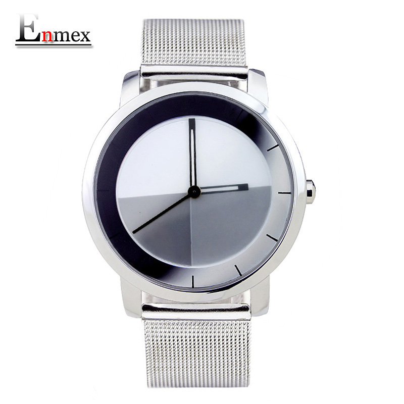 2017 gift Enmex creative style wristwatch mirror face changing dial  steel frabic strap with simple casual fashion quartz watch 2017lady gift enmex design silicone strap creative changing patterns dail japanese style simple quietly elegant quartz watches