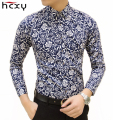 HCXY Free shipping Colorful spring and summer fashion brand mens clothes printed shirt large size Slim floral shirt men