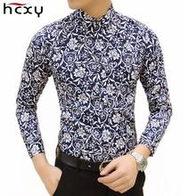 HCXY Бесплатная доставка Красочные весной и летом модный бренд мужской одежды печатных рубашку большой размер Тонкий цветочный рубашку мужчины