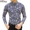 HCXY Frete grátis Colorido da primavera e verão moda marca de roupas dos homens imprimiram a camisa tamanho grande Magro floral camisa dos homens