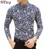 Free Shipping Colorful Spring And Summer Fashion Brand Mens Clothes Printed Shirt Large Size Slim Floral