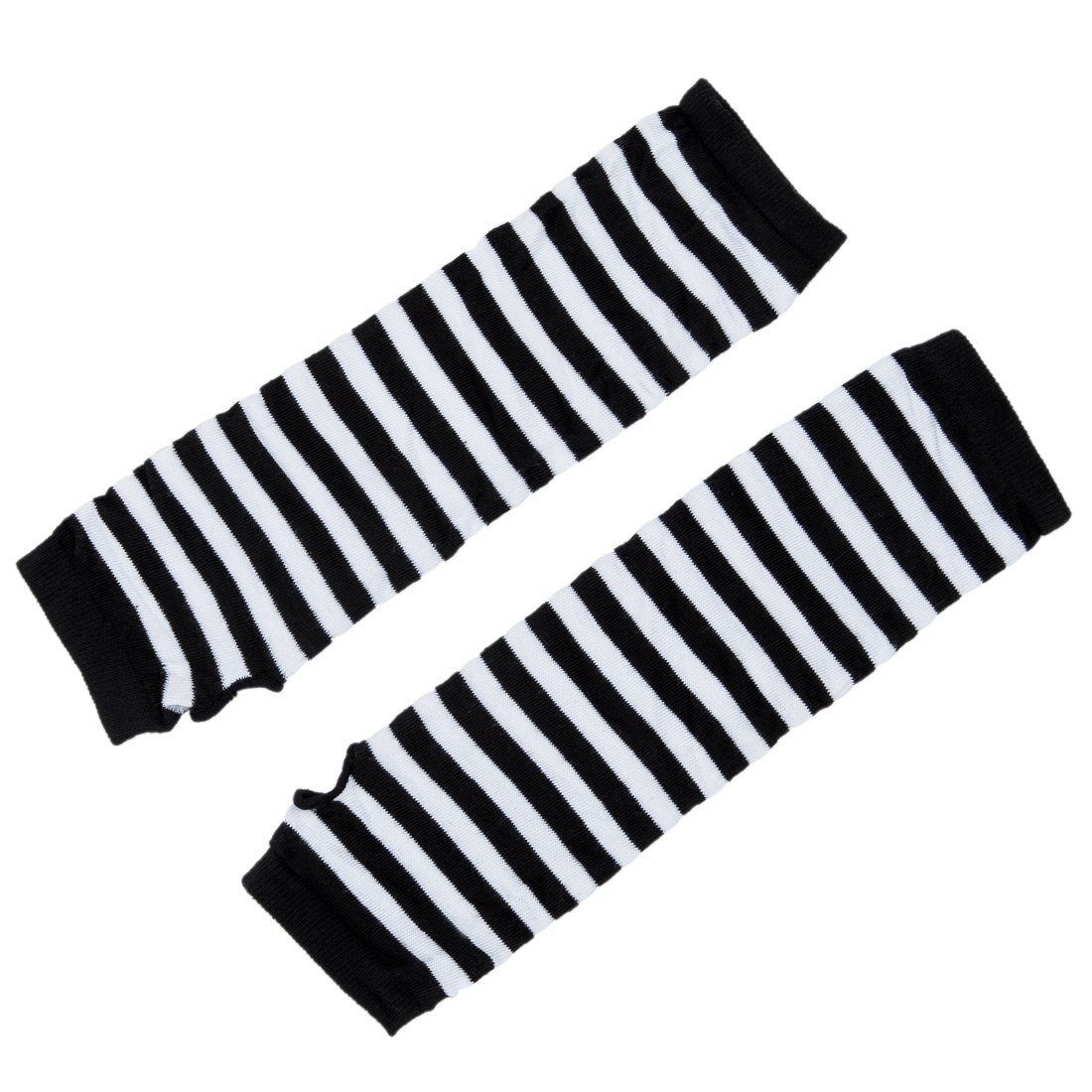 ̿̿̿(•̪ )ELOS-Stylish Winter Warm Black White Striped Long Fingerless ...