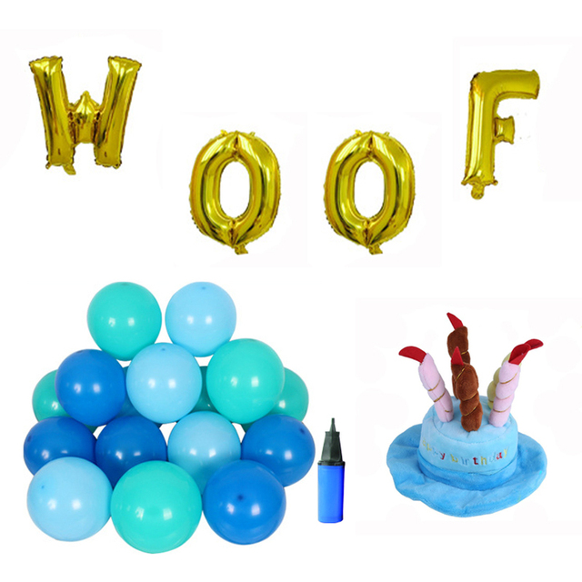 Dog Birthday Decorations Set Hat WOOF Letter Balloons 15 Pcs Latex For Cat