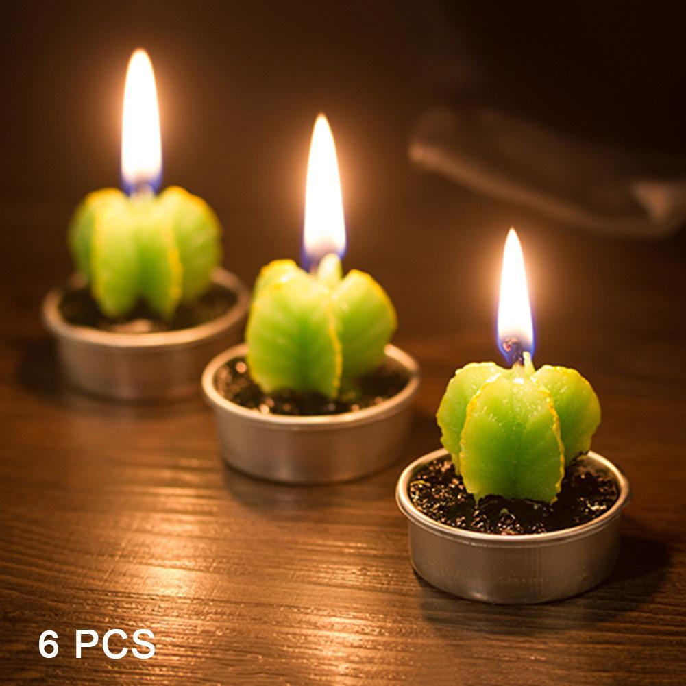 6pcs home decor rare mini cactus candle table tea light home garden simulation plant candle decorative - Candles Home Decor