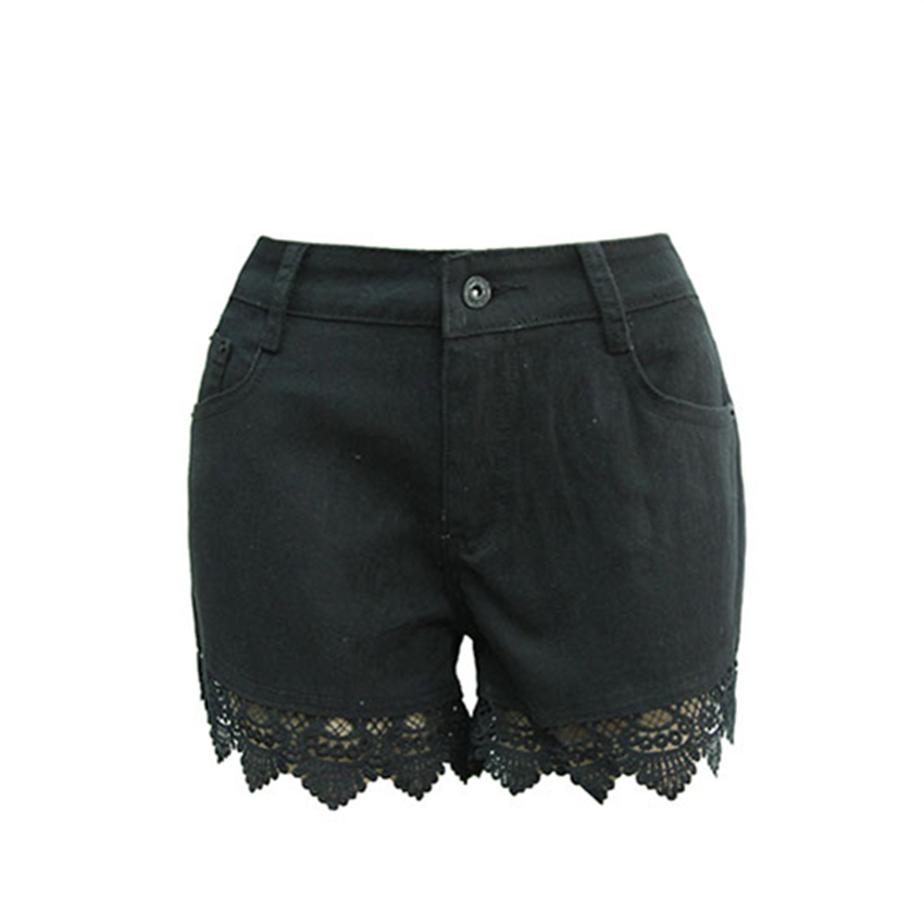 Spring Summer Fashion Lace Stitching Black Shorts Women Crochet Hollow Slim Europe New Short Jeans with Hight Waist S-XXL