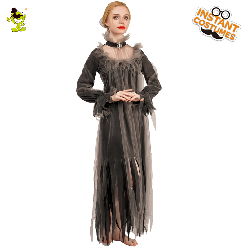 Purim Party Vampire Woman Costume Ladies Fashionable Elegant Noble Chiffon Long Dress Costume For Halloween Cosplay Party