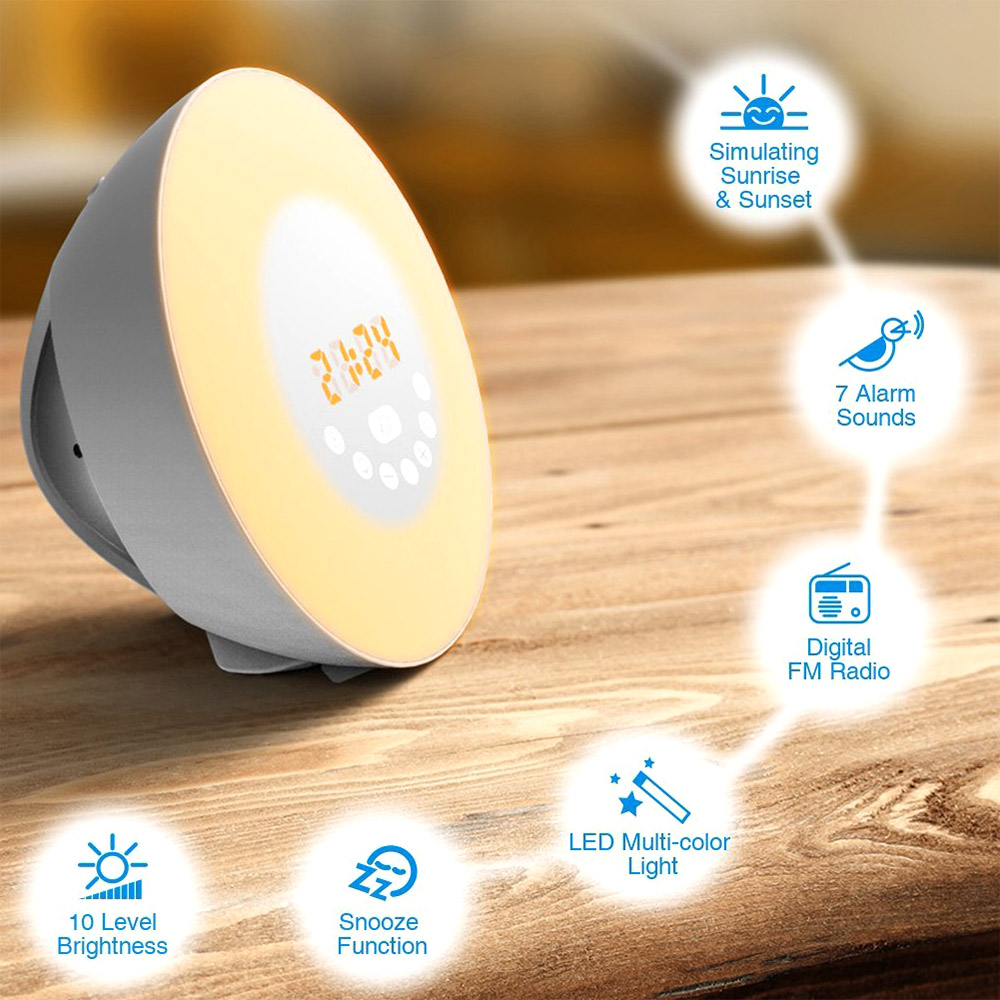Gosear Wake-up Light Sunrise Sunset Simulation Alarm Clock Touch Sensor Color-changing RGB <font><b>LED</b></font> Lamp with FM Radio
