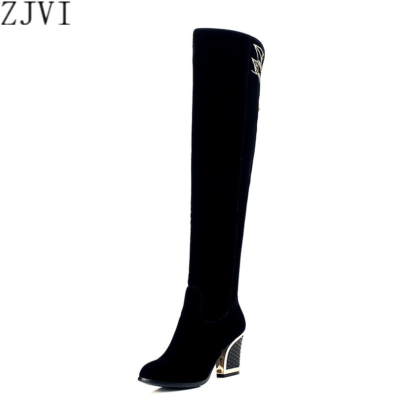 ФОТО ZJVI Fashion female nubuck flock high heels thigh high boots Winter sexy Women black over the knee boots woman womens shoes