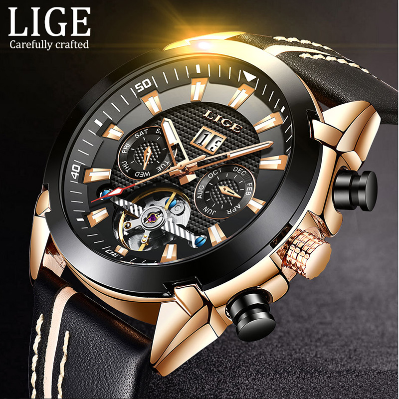 New Sport Mechanical Watches LIGE Mens Business Leather Automatic Mechanical Watch Men Military Waterproof Clock Montre HommeNew Sport Mechanical Watches LIGE Mens Business Leather Automatic Mechanical Watch Men Military Waterproof Clock Montre Homme