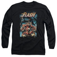 The FLASH IN ELECTRIC CHAIR Comic Cover Adult Long Sleeve T Shirt S 3XL