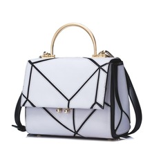 2016 New Style Geometric Pattern Women's Cowhide Leather Tote Top Handle Purse Small Flap Handbag Cross Body Shoulder Bag