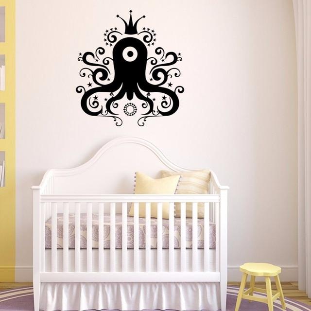 Cartoon Crown Octopus Fish Vinyl Wall Decal Kids Room Decor Bedroom Art  Wallpaper Removable Wall Stickers