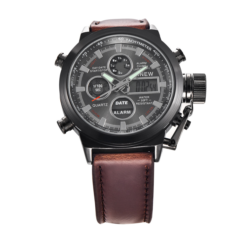 2018 Hot Brand XINEW Chronograph Quartz Digital Sports Watches Men Leather LED Military Army Waterproof Wristwatch Reloj Hombre 100% original projector lamp r9842807 for barco overview ov 808 overview ov 815